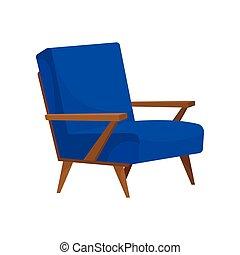 bleu, plat, salle, vivant, fauteuil bois, bras, confortable, vecteur, legs., icône, tapisserie ameublement, doux, meubles