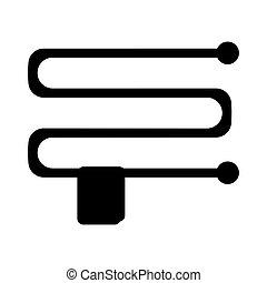 bleu, plat, serviette, illustration., rail, arrière-plan., vecteur, chauffé, icône