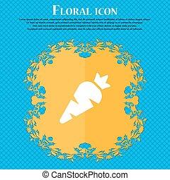 bleu, plat, signe., text., résumé, légume, vecteur, conception, fond, floral, endroit, carotte, ton, icône