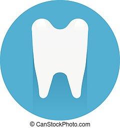 bleu, plat, silhouette, dent, fond, symbole, icône