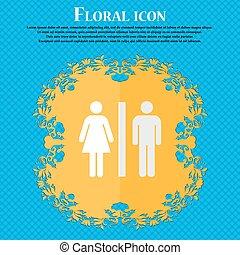 bleu, plat, silhouette, résumé, text., vecteur, conception, fond, floral, endroit, woman., ton, homme