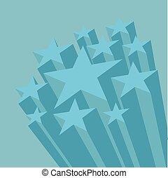 bleu, plat, space., conception, étoiles, copie, 3d
