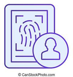 bleu, plat, style, 10., icônes, gradient, conçu, balayage, eps, style., app., toile, empreinte doigt, branché, icon., conception, identité, doigt