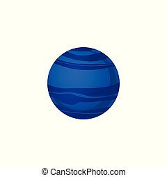 bleu, plat, style, neptune, système, isolé, planète, arrière-plan., solaire, blanc