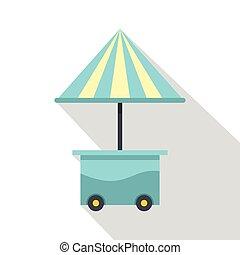 bleu, plat, style, parapluie, mobile, charrette, icône