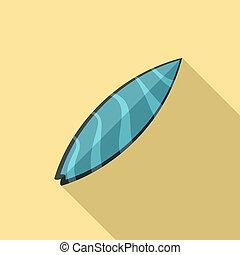 bleu, plat, style, planche surf, vague, icône