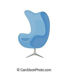 bleu, plat, tapisserie ameublement, confortable, furniture., fauteuil, moderne, acier, amorti, vecteur, chair., legs., doux, icône