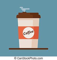 bleu, plat, tasse à café, illustration, arrière-plan., vecteur, haricots, icône