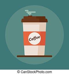 bleu, plat, tasse à café, texte, illustration, arrière-plan., vecteur, icône