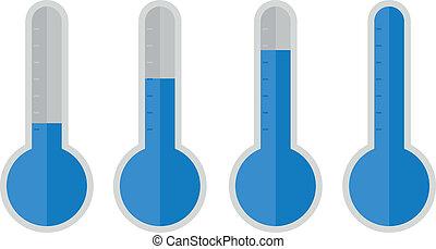 bleu, plat, thermomètre