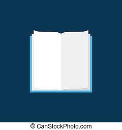 bleu, plat, vecteur, fond, livre ouvert, icône