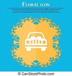 bleu, plat, voiture, signe., text., résumé, vecteur, conception, fond, floral, endroit, ton, icône