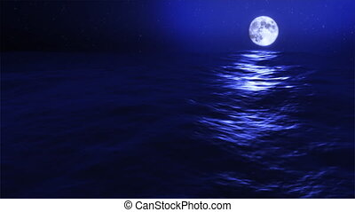 bleu, pleine lune, vagues, (1031), océan