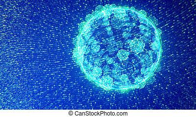 bleu, plexus, mouvementde va-et-vient, étincelant, sphères