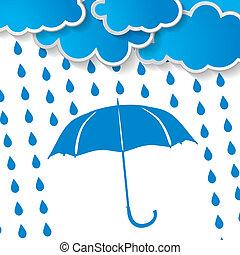 bleu, pluie, parapluie, nuages