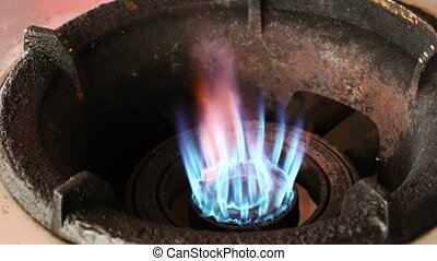 bleu, poêle, essence, haut, flamme, fin