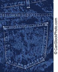 bleu, poche, jean