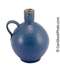 bleu, poignée, céramique, isolé, vase, petit, trou, rond