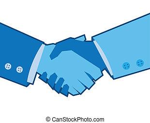 bleu, poignée main