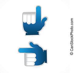 bleu, point, haut, vecteur, mains, logo