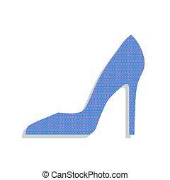 bleu, points, femme, cyclamen, néon, signe., polka, chaussure, vector., icône
