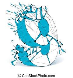 bleu, points, fragments., multiple, effet, wireframe,...