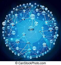 bleu, points, résumé, connecté, fond