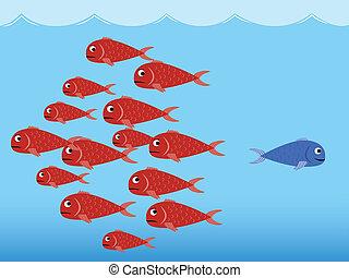 bleu, poissons, rouges