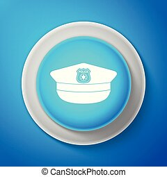 bleu, police, arrière-plan., signe., casquette, isolé, illustration, ligne., vecteur, cercle, blanc, icône, chapeau, bouton, cockade