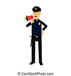 bleu, police, coloré, caractère, illustration, uniforme, cris, vecteur, officier, utilisation, porte voix