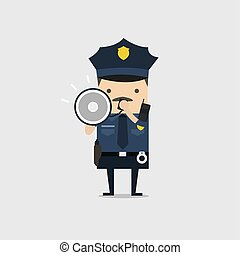 bleu, police, work., policier, caractère, uniforme, cris, megaphone., officier, utilisation