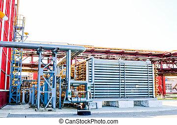 bleu, polyéthylène, réacteur, huile, exchanger, pétrochimique, raffinerie, tuyau, chaleur, produire, chimique, high-pressure, pipe-type, plante, tubulaire