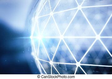 bleu, polygonal, sphère