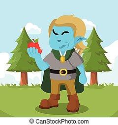 bleu, pomme mangeant, elfe, illustration, conception