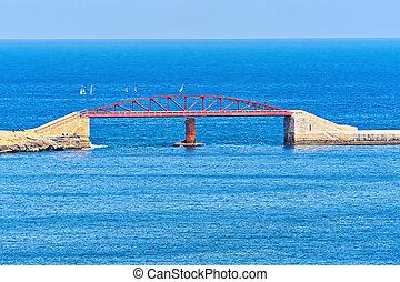 bleu, pont, saint, valletta, elmo, port, pont, contre, général, malta., mer, grandiose, vue