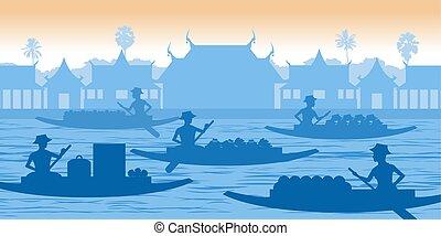bleu, populaire, flotter, touriste, marché, ancien, thaïlande, conception, marché, silhouette