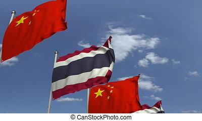 bleu, porcelaine, ciel, contre, animation, drapeaux, loopable, thaïlande, 3d
