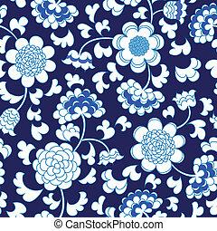 bleu, porcelaine, seamless, porcelaine, fond, floral