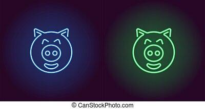 bleu, porcelet, couleur, néon, figure, vert