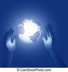 bleu, portée, illustration, mains, la terre, 3d, lueur