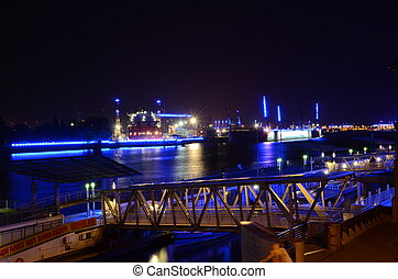 bleu, port, hambourg