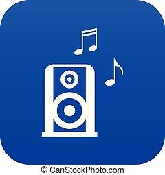 bleu, portable, speacker, musique, numérique, icône