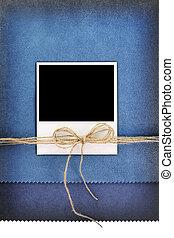 bleu, porte-photo, polaroid, fond, vendange