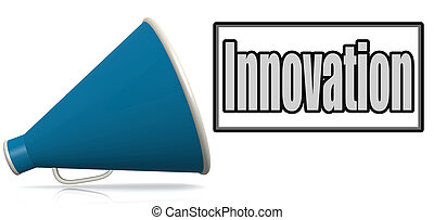 bleu, porte voix, mot, innovation