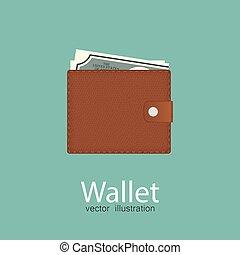 bleu, portefeuille, isolé, illustration, arrière-plan., vecteur