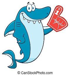 bleu, porter, requin, mousse, doigt