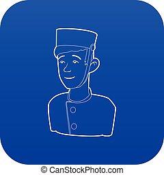 bleu, portier, vecteur, icône