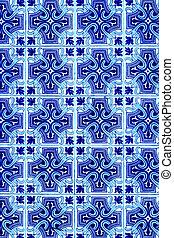 bleu, portugais, coloré, mur, résumé, azulejo, fond, blanc, tiles.