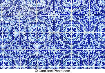 bleu, portugais, tuiles, gros plan