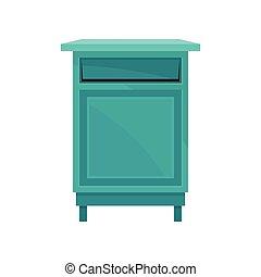 bleu, postbox., court, récipient, legs., plat, vecteur, ...